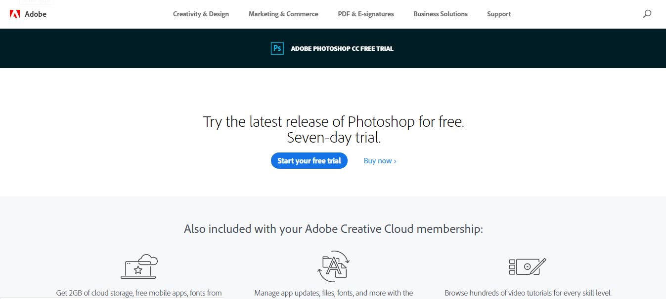 Adobe photoshop free trial