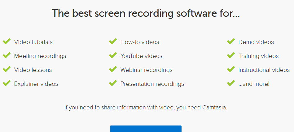 Camtasia Studio features