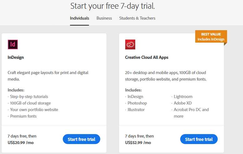 Start your free InDesign 7-day trial