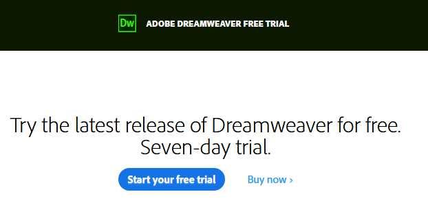 Download Dreamweaver free trial