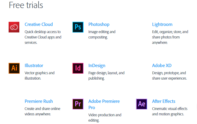 Adobe Creative Cloud desktop apps