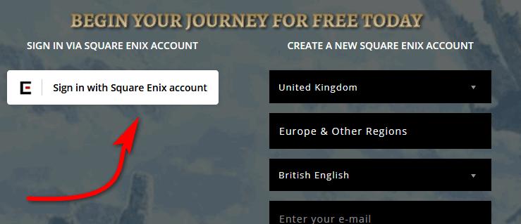Create FFxiv free trial account