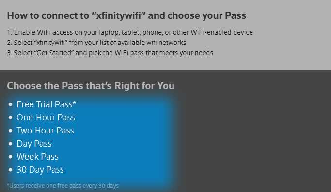 xfinity wifi free trial pass