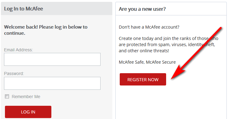 Create McAfee free account