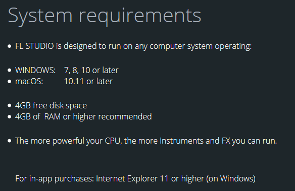 FL Studio system requirements