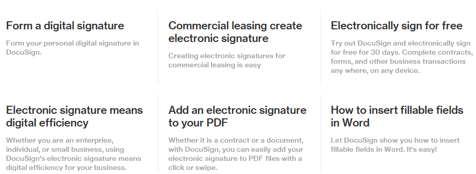 Features of DocuSign