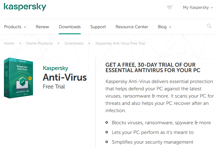 Kaspersky Free Trial Antivirus