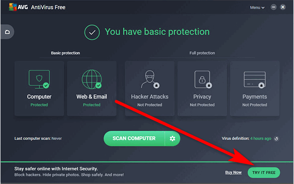 Try AVG free for 30 days