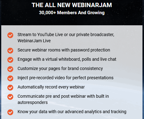 WebinarJam free trial features