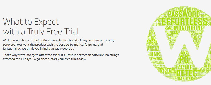 Webroot free trial features