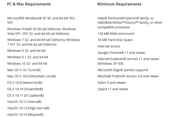 Webroot system requirements