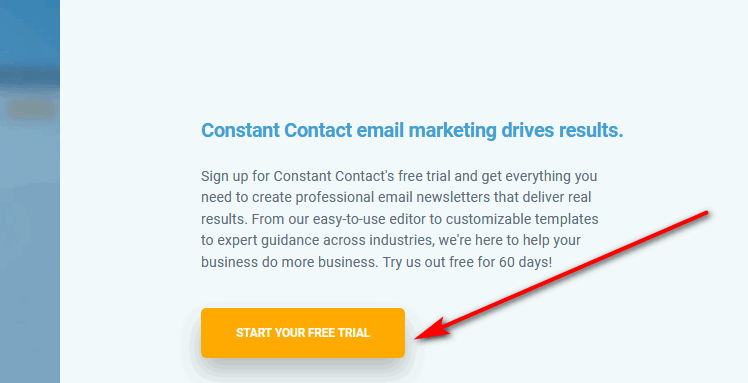 Constant Contact free trial button