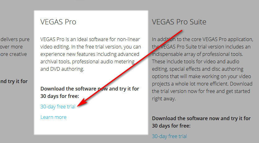 Downloading Vegas Pro free trial