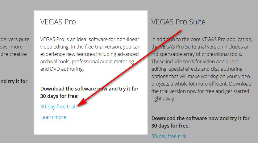 Downloading Vegas Pro free trial