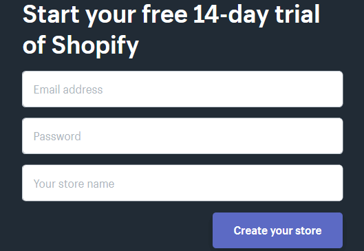 start 14 day free trial of Shopify
