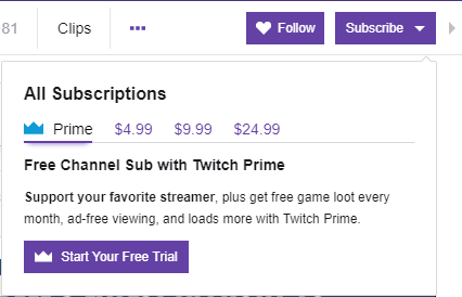 Twitch Prime free trial offer
